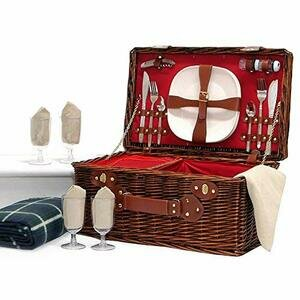 The Redgrave - Luxury Dark Wicker 4 Person Picnic Basket with Built in Chiller Compartment