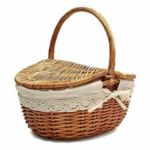 Wicker Basket with Handle and Double Lids, (Colour : Natural wood colour)