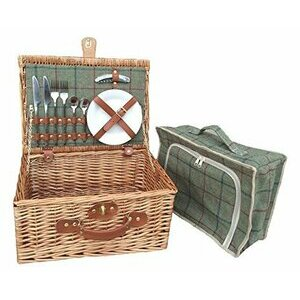 Red Hamper Willow 2 Person Green Tweed Picnic Basket