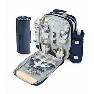 Greenfield Collection Navy Blue Picnic Backpack Hamper for Two