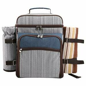 Arkmiido Picnic Backpack Hamper for 4 with Insulated Cooler Compartment (grey)