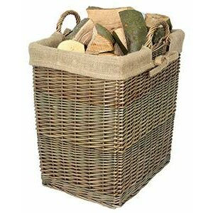Home-ever Antique Wash Willow Rectangular Log Basket with Lining