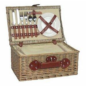 Antique Wash Willow Picnic Hamper / Basket for 2