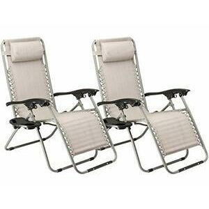 SUNMER Set of 2 Sun Loungers With Cup And Phone Holders