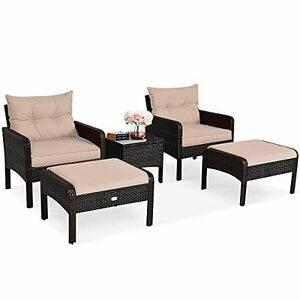 COSTWAY 5PCS Rattan Garden Furniture Set (Brown+Tan)