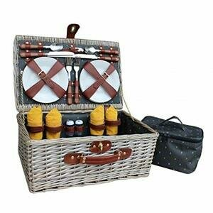 Red Hamper Antique Wash Wicker 4 Person Fitted Picnic Basket