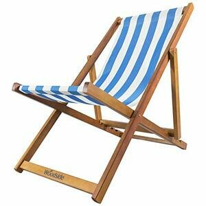 Woodside Traditional Folding Deck Chair (Light Blue & White)