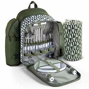VonShef Green Picnic Backpack for 4