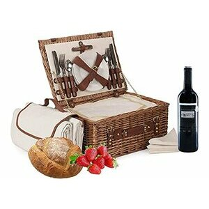 """Wrenbury 16"""" Deluxe Fitted Picnic Hamper for 4 People"""