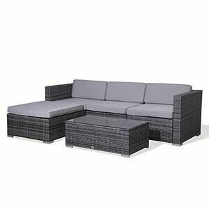 EVRE Rattan Outdoor Garden Furniture Set with Coffee Table (Grey)