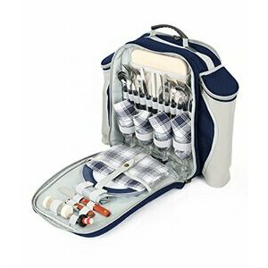 Greenfield Collection Navy Blue Picnic Backpack for Four