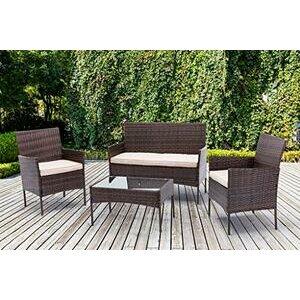 mcc direct 4pcs Rattan Outdoor Garden furniture sofa set (Brown)