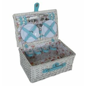 Bentley Explorer White Willow Picnic Basket for Four