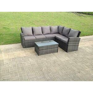 Fimous 6 Seater High Back Grey Rattan Corner Sofa Set