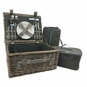 Red Hamper 2 Person Grey Tweed Wicker Fitted Picnic Basket