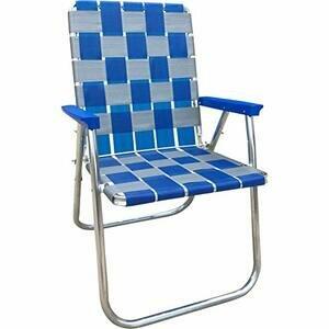 Lawn Chair Folding Aluminium Webbing Chair (Blue/Silver)