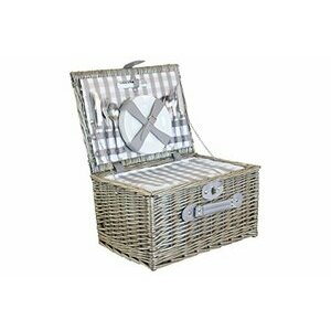 4 Person Grey Checked Fitted Wicker Willow Picnic Basket