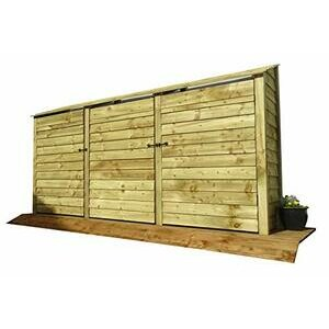 Arbor Garden Solutions Extra Large Wooden Log Store With Doors 6Ft (Light Green/Natural)