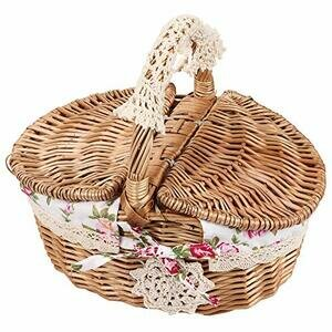 April Gift Oval Double Cover Wicker Linen Flower Picnic Basket