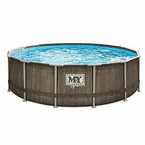 M.Y Splash 14ft x 42in Rattan Finish Metal Frame Swimming Pool Set
