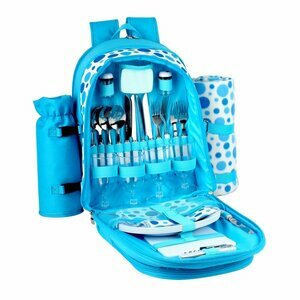 Bright Blue Polkadot Picnic Backpack for Four People