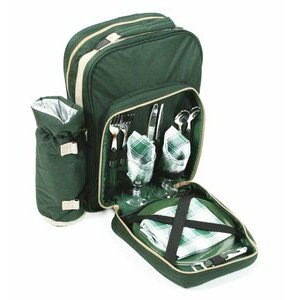 Greenfield Collection Deluxe 4 Person Green Picnic Rucksack