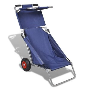 Portable Blue Beach Chair Trolley Table
