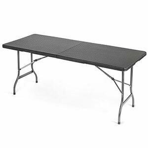 CHRISTOW Rattan Effect Folding Table (Black)
