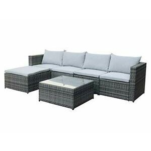 EVRE Rattan Outdoor Garden Furniture Set MIAMI Sofa, Coffee Table, Foot Stool (Grey)