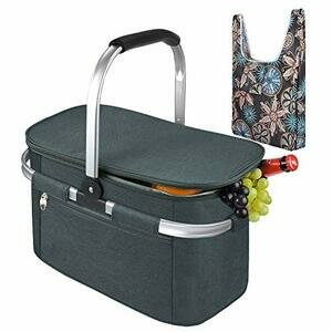 Tirrinia Large Insulated Picnic Basket, 26L Water-Resistant (Grey)