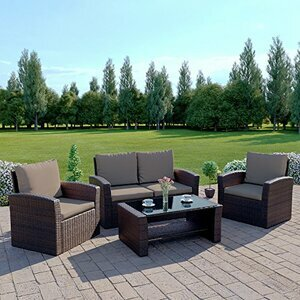 New Algarve Rattan Outdoor Garden Patio/Conservatory 4 Seater Sofa and Armchair set with Cushions and Coffee Table. Conservatory Sofa Set (Brown with Dark Cushions) INCLUDES OUTDOOR PROTECTIVE COVER