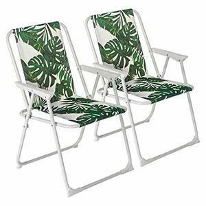 Harbour Housewares 2 Piece Folding Beach Arm Chair Set - Banana Leaf