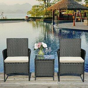 LIFE CARVER Rattan Garden Furniture 3 Piece set (Black)