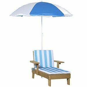 Outsunny Wooden Kids Lounge Chaise with Foldable Adjustable Parasol