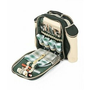 Greenfield Collection Deluxe Picnic Backpack for Four - Forest Green