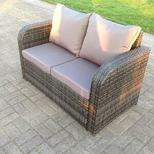 Fimous 2 Seater Curved Arm Rattan Outdoor Sofa with Cushions
