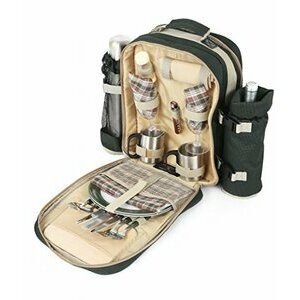 Greenfield Collection Forest Green Picnic Backpack for Two