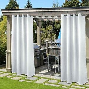 BGment Outdoor Curtains for Patio (52 x 108 Inch, Grey/White)