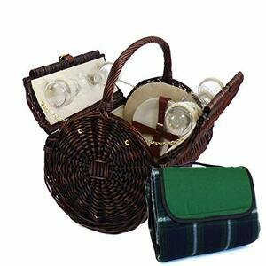 Stamford 4 Person Wicker Picnic Basket with Traditional Green Waterproof Blanket
