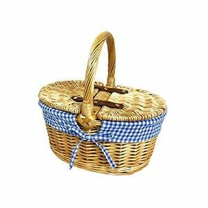 Nutley's Small Wicker Picnic Basket - Blue Gingham