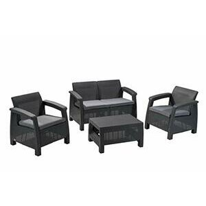 Keter Corfu Outdoor 4 Seater Rattan Sofa Set with Table - Graphite