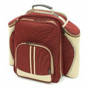 Greenfield Collection Mulberry Red Picnic Backpack Hamper for Four