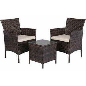 Yaheetech 2 Seater Garden Furniture Set  (Brown)
