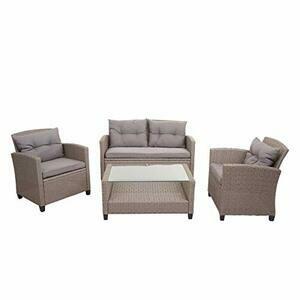 Mendler HWC-F10 XXL Poly-Rattan Garden Set Sofa Chair with Cushions (Grey/Brown)
