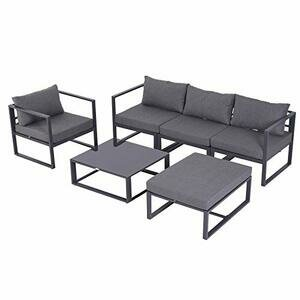 Outsunny 6 piece Outdoor Sectional Sofa Set - Grey