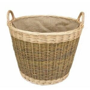 Unpeeled & Buff Willow Wicker Round Log Basket