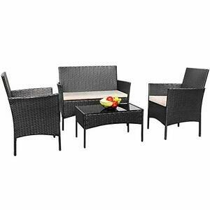 TUOKE Rattan 4 piece Garden Furniture Set (Black)