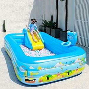 Mopoq Inflatable Charged Pump Slide Design Bathing Pool ( Size : 318*187*65*cm )