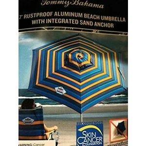 Tommy Bahama 7 Foot Umbrella with Tilt (Orange/Blue Stripes)