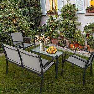 Garden Furniture Set, 4 Seater Patio Furniture Set with Glass Table with 3 Sofa Chairs (Grey)